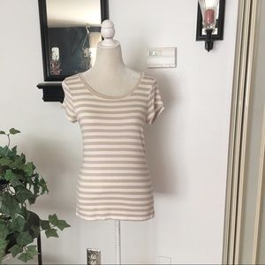 The Limited Short Sleeve Tan Cream Top